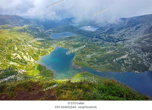 approaching clouds over The Twin, The Trefoil, the Fish and The Lower Lakes, The Seven Rila Lakes, Bulgaria