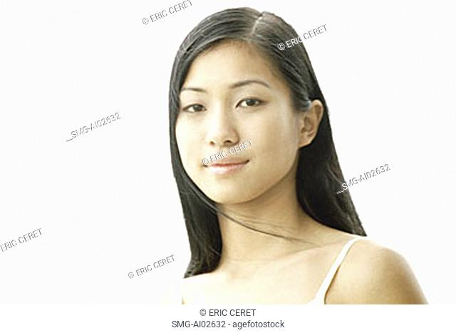 Young woman, white background, portrait