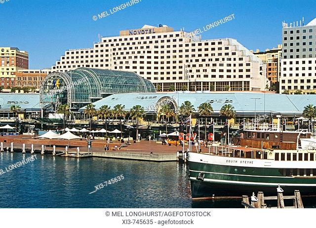 Darling Harbour, including Novotel Hotel and South Steyne steamer restaurant, Sydney, New South Wales, Australia