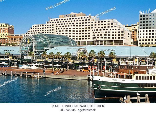 Darling Harbour, including Novotel Hotel and South Steyne steamer restaurant, Sydney, New South Wales, Australia