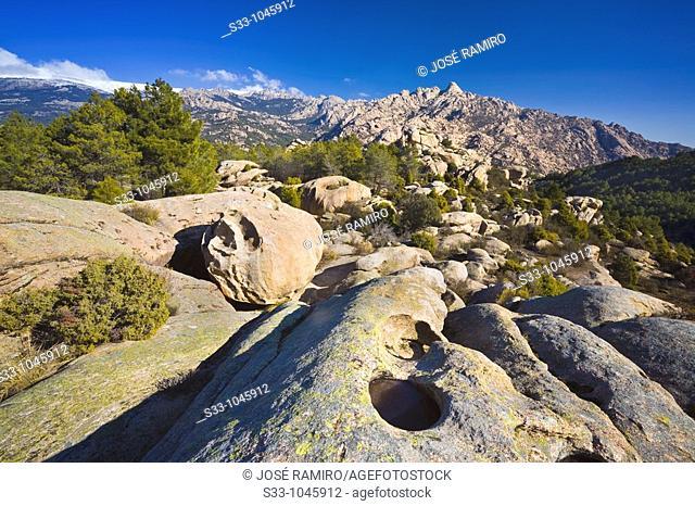 Risco del Yelmo desde el cerro de la Higuera  Parque Regional de la Cuenca Alta del Manzanares  Manzanares el Real  Madrid  España
