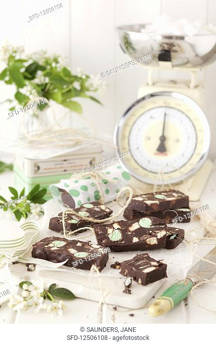 Chocolate fridge cake with mint in a vintage kitchen