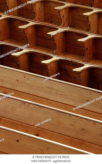 Pews of wood, Switzerland