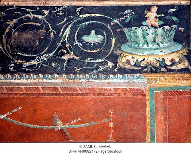 Frieze with drawing branch from acanthus tuft with pygmy and part of the lower panel, The porticus