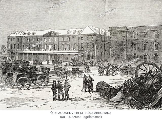 The barrack square in the fortress of Mont-Valerien, France, Franco-Prussian War, illustration from the magazine The Illustrated London News, volume LVIII
