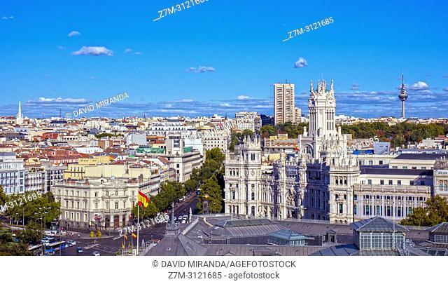 Ayuntamiento desde el Mirador del Círculo de Bellas Artes. Madrid, Spain