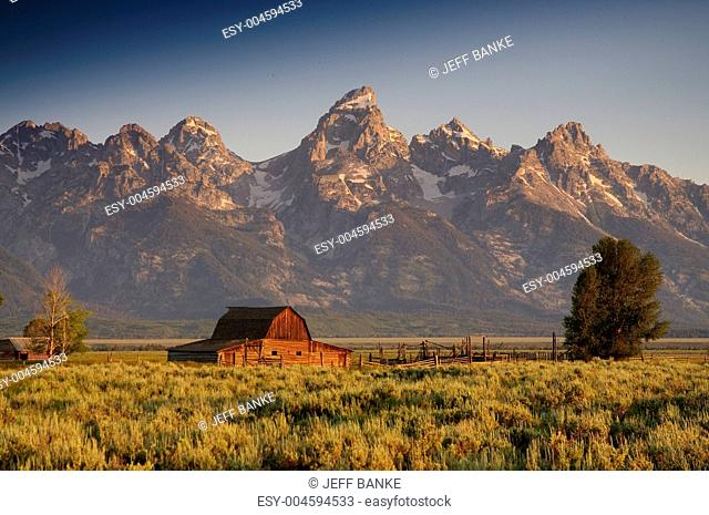 Famous barn on Mormon row in the Teton National Park