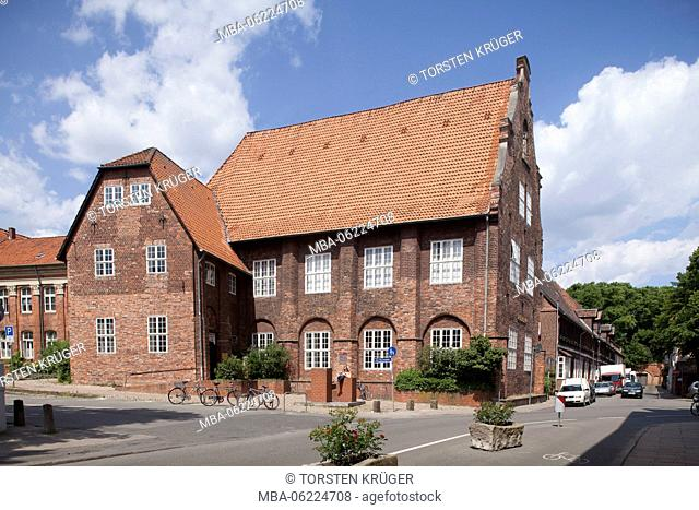 Former monastery library, today council library, Old Town, Lüneburg, Lower Saxony, Germany, Europe
