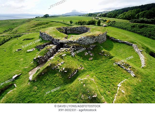 Carn Liath broch 2000 years fortified homestead on North Sea coast near Golspie, Sutherland, Scotland. West over the entrance
