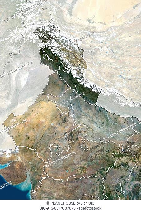 Satellite view of North India with administrative boundaries and mask, including boundaries of Jammu and Kashmir disputed areas