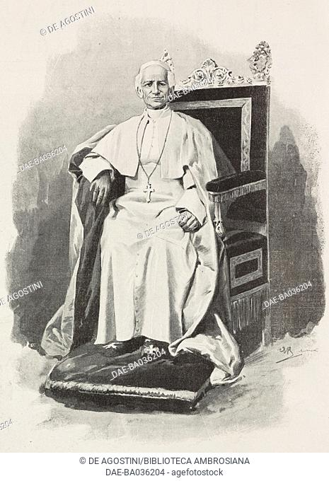 Pope Leo XIII (1810-1903), drawing by Achille Beltrame (1871-1945), from L'Illustrazione Italiana, Year XXVI, No 53, December 31, 1899