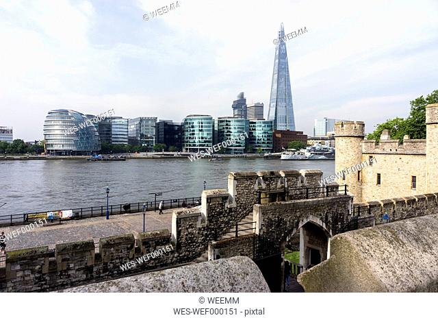 Great Britain, England, London, Tower of London, View to More London riverside with City hall and The Shard