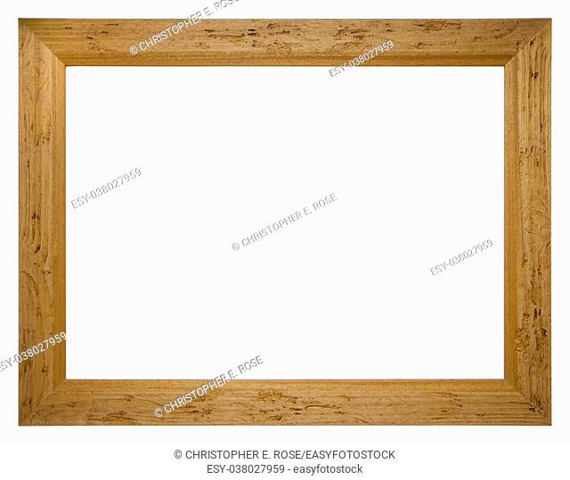 Empty picture frame isolated on white, landscape format, in a plain stained wood finish