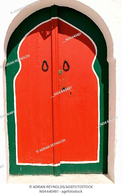 Red and green doorway, Sidi Bou Said. Tunisia
