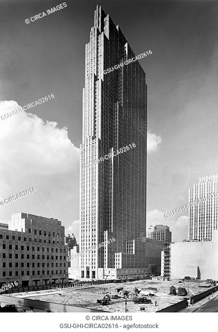 RCA Building, Rockefeller Center under Construction, New York City, New York, USA, Samuel H. Gottscho, September 1933