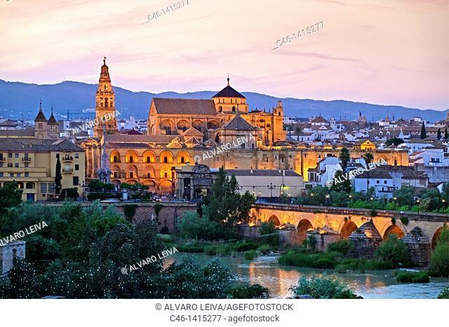 Roman bridge over Guadalquivir river with Great Mosque  Cordoba  Andalusia, Spain