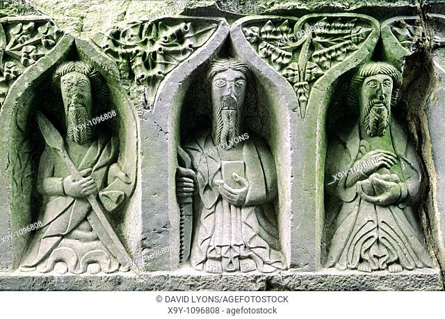 Jerpoint Abbey, County Kilkenny, Ireland  Stone carved Christian saints known as weepers on the side panel of 16 C  tomb