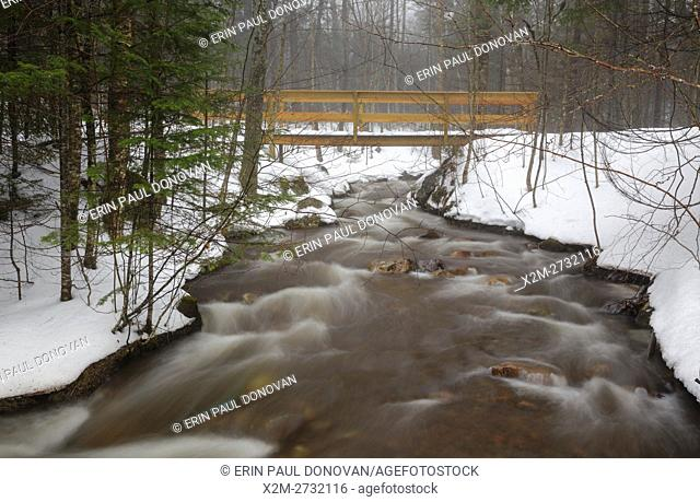 Franconia Notch State Park - Footbridge along the Mount Pemigewasset Trail in the White Mountains of New Hampshire on a warm foggy winter day