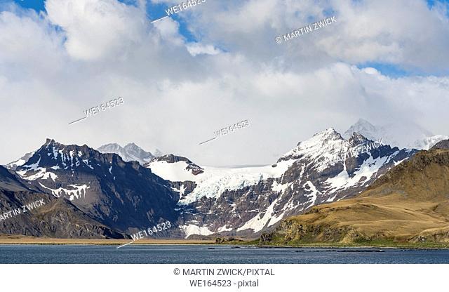 Cumberland East Bay and the mountains of the Allardyce Range. Antarctica, Subantarctica, South Georgia, October