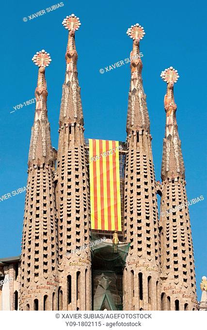 Diada, September, 11, Sagrada Familia, Barcelona, Spain