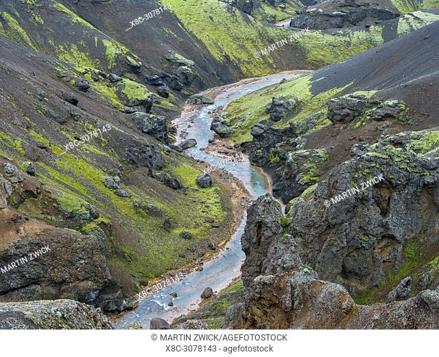 Landscape in the mountains of Kerlingafjoell in the highlands of Iceland. europe, northern europe, iceland, september