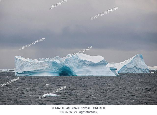 Icebergs floating in the South Atlantic Ocean, Weddell Sea, Antarctic Peninsula, Antarctica