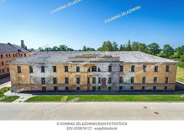 Aerial view from the roof of abandoned building in Daugavpils Fortress (also called Dinaburg Fortress) in Daugavpils city, Republic of Latvia