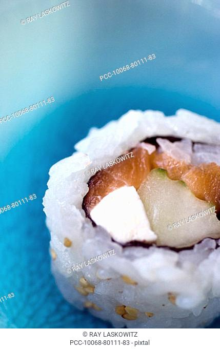 Close-up of a sushi roll