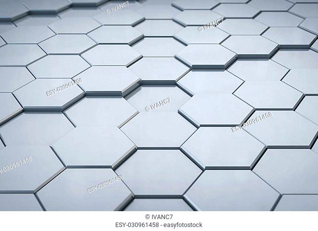3D Silver Hexagonal Structure Background