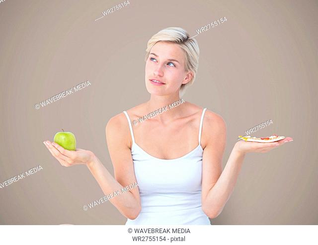 Woman choosing or deciding eating food with open palm hands