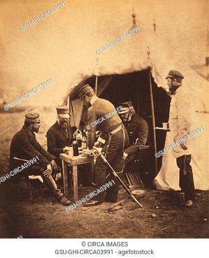 British Brigadier General Sir Robert Garrett with Officers of the 46th South Devonshire Regiment, Portrait Dining outside Military Tent, Crimean War, Crimea