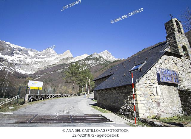 Pineta Valley and his chapel Our Lady of Pineta Huesca Aragon Spain