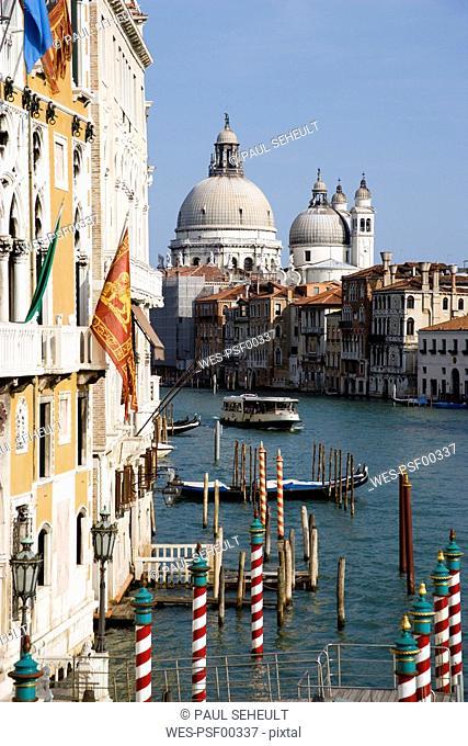 Italy, Venice, Grand Canal, Santa Maria della Salute in background