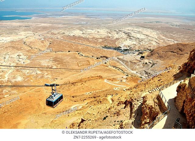 Cable car heading down from Masada, Israel