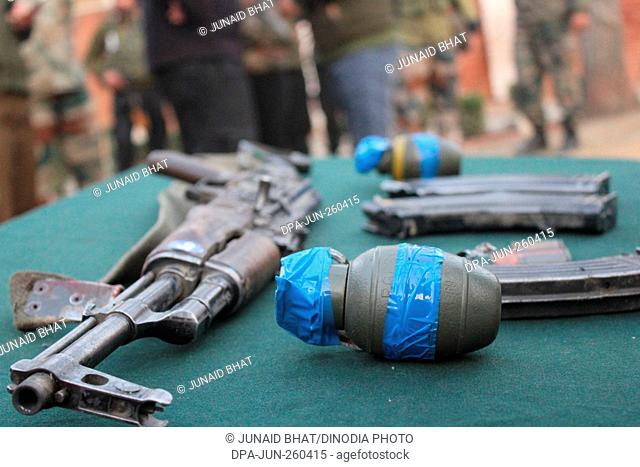 automatic rifle and teargas shell, Sopore town, Kashmir, India, Asia