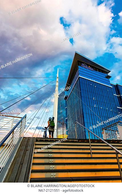 The Denver Millennium Bridge (the world's first cable-stayed bridge using post-tensioned structural construction) and the DaVita Building