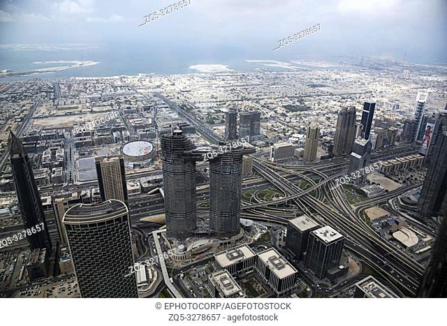 View of buildings from 124 th floor of Burj Khalifa, tallest building structure in the world, Dubai, UAE