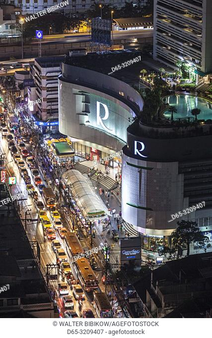 Thailand, Bangkok, Riverside Area, high angle view of the Robinson Mall and Charoen Krung Road, evening