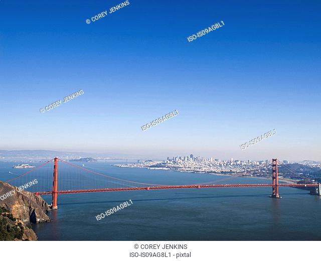 Distant view of Golden gate bridge, San Francisco, California, USA