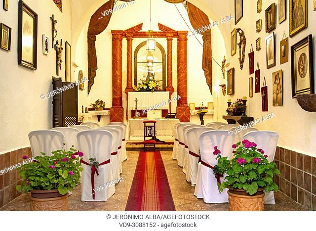 Church hermitage. Rural farmhouse for wedding celebration, Antequera, Malaga province Andalusia. Southern Spain Europe