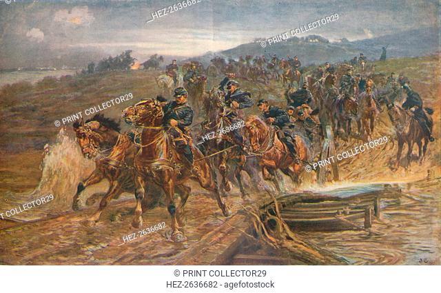 'French Artillery Crossing the River Aisne, September, 1914', 1915 (1928). Artist: John Charlton