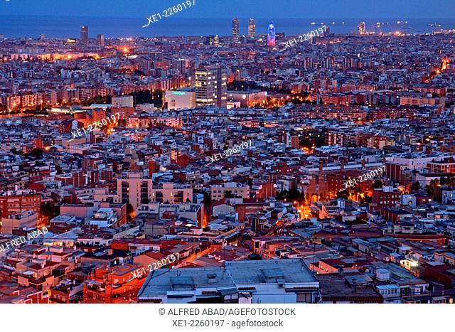 Barcelona at sunset from Collserola, Catalonia, Spain