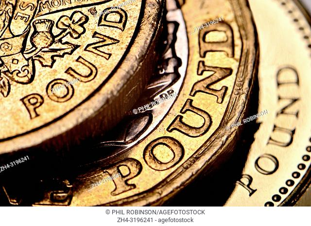 British pound coins from different periods