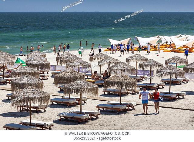 Romania, Black Sea Coast, Mamaia, elevated beachfront view