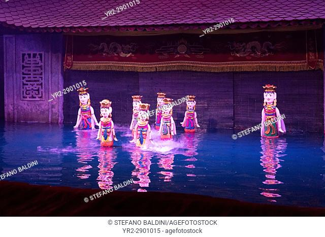 Water puppets show at the Thang Long water puppet theatre in Hanoi, Vietnam