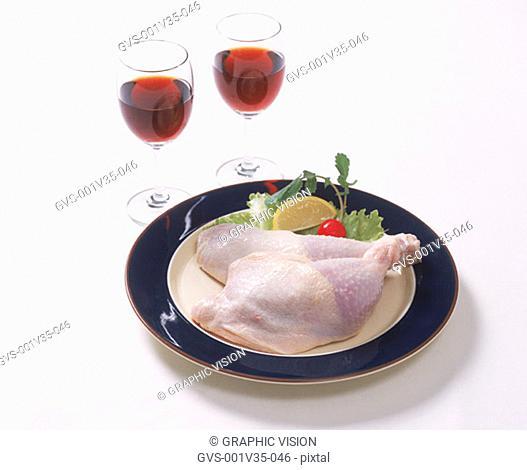 Uncooked Chicken Drum Sticksand Red Wine