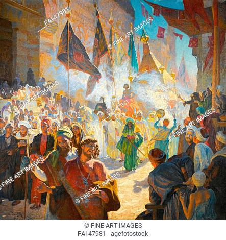 The procession of the mahmal through the streets of Cairo by Deutsch, Ludwig (1855-1935)/Oil on canvas/Orientalism/1909/Austria/Private...