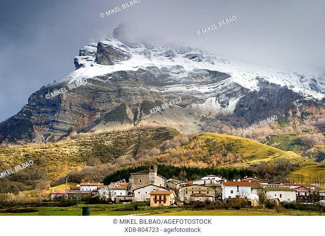 San Donato or Beriain mount and Unanua village  Andia Sierra, Navarre, Spain, Europe
