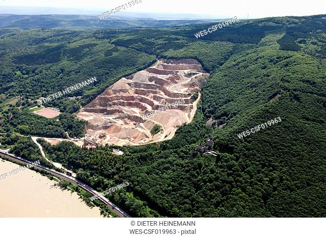 Germany, Rhineland-Palatinate, Niederheimbach, View of Sooneck Castle and quarry, aerial photo
