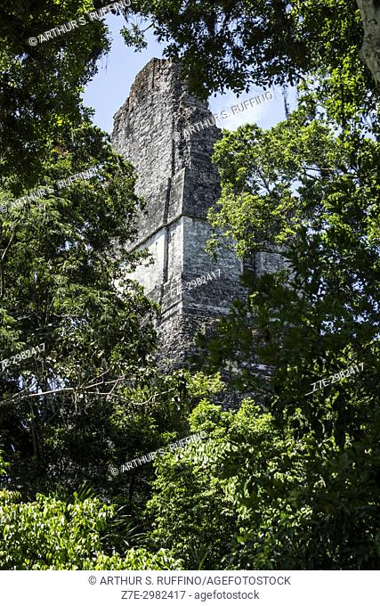 Rear, side view of the roof comb of Temple I, Great Jaguar Temple, Tikal, Guatemala, Central America